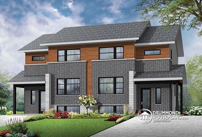 Contemporary 4 unit apartment house plan multi family for 4 unit condo plans