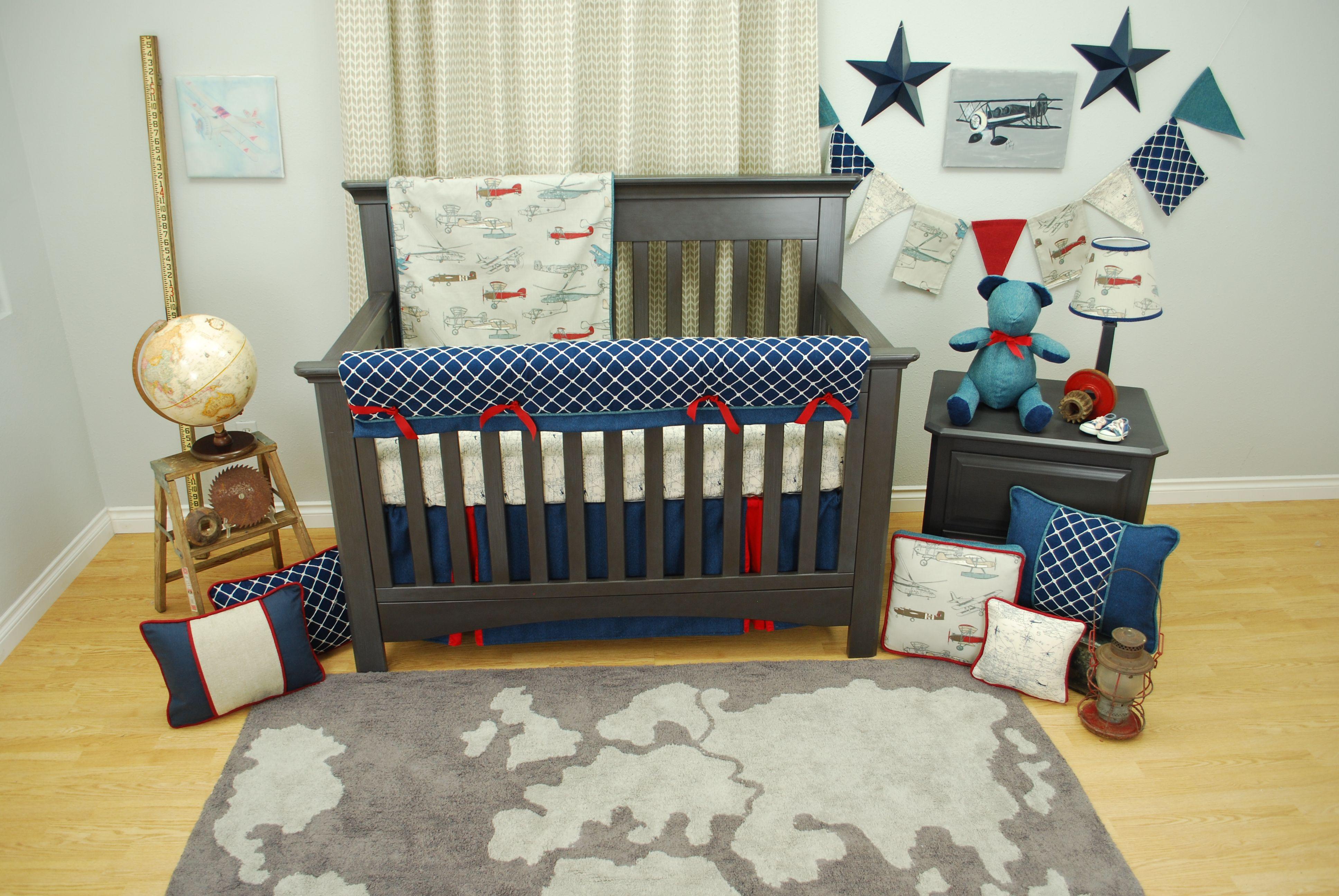Navy And Red Vintage Airplane Crib Bedding Set In A Transportation Theme Nursery With Globe Art Pine Creek Judith Raye