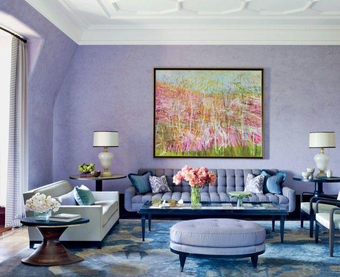 Die Farbe Lila Schöne Tapete Wohnzimmer Farbiges Gemälde