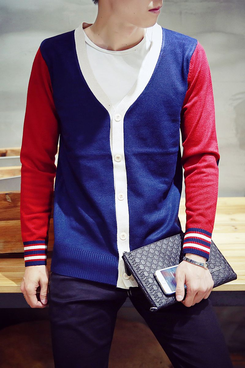 Men Casual Cardigans Knitted Sweater Patchwork Mens Sweater Plus ...