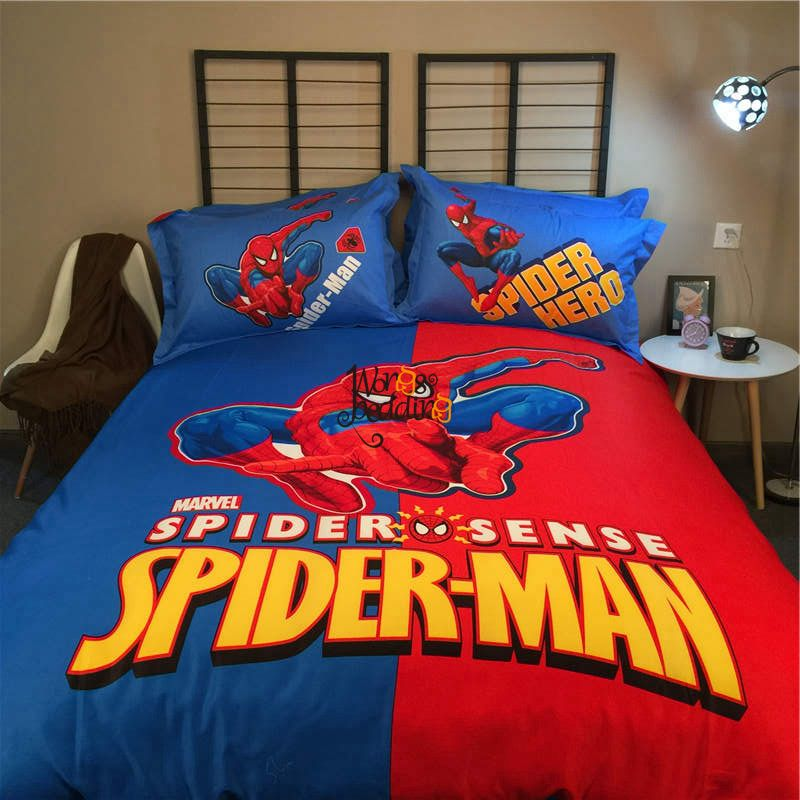 Free Shipping Buy Best Wongs Brand Hd Spider Man Cartoon Duvet Cover Blue Red Bedding Set Single Mens Bedding Sets Kids Comforter Sets Kids Bedding Sets