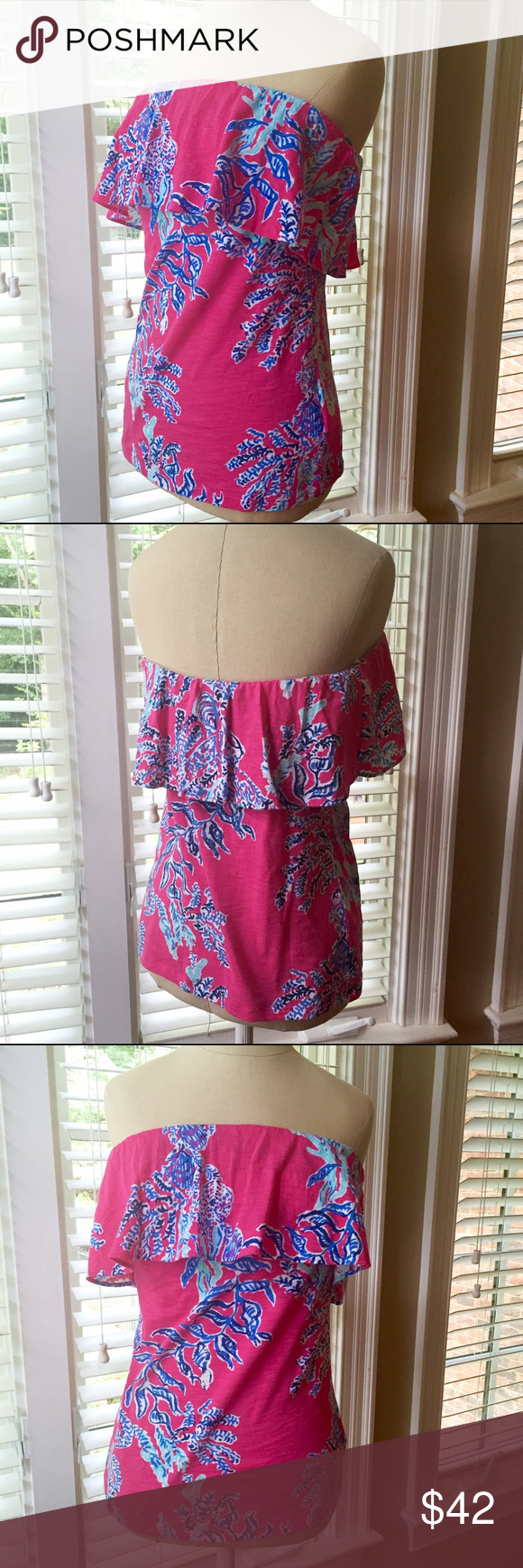 Lilly Pulitzer Ruffled Tube Top This super cute Lilly Pulitzer top is in perfect condition since I've never worn it! It's perfect for the summer, but would also look great with longer pants and a jacket :) These cute tops are no longer available at Lilly Pulitzer or online. Lilly Pulitzer Tops Blouses
