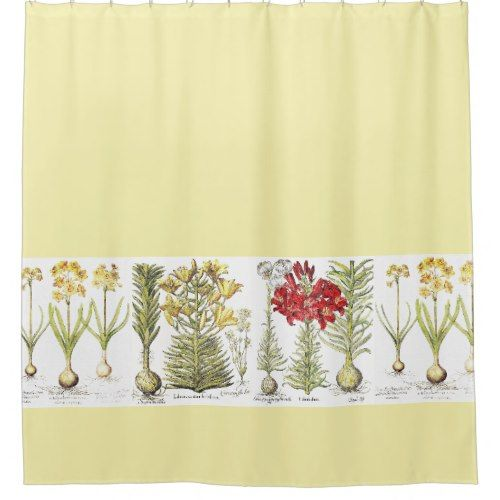 Vintage Botanical Lily Narcissus Flowers Floral Shower Curtain ...