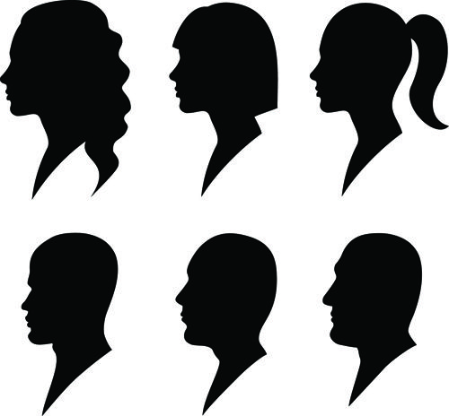 Creative Man And Woman Silhouettes Vector Set 05 Vector People Silhouette Face Man And Woman Silhouette Woman Face Silhouette