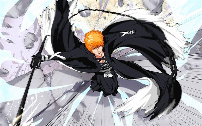 Download Wallpapers Bleach Kurosaki Ichigo Hiroto Touya Shinigami Power Manga Black Kimono Black Sword Besthqwallpapers Com Bleach Art Bleach Anime Bleach Characters
