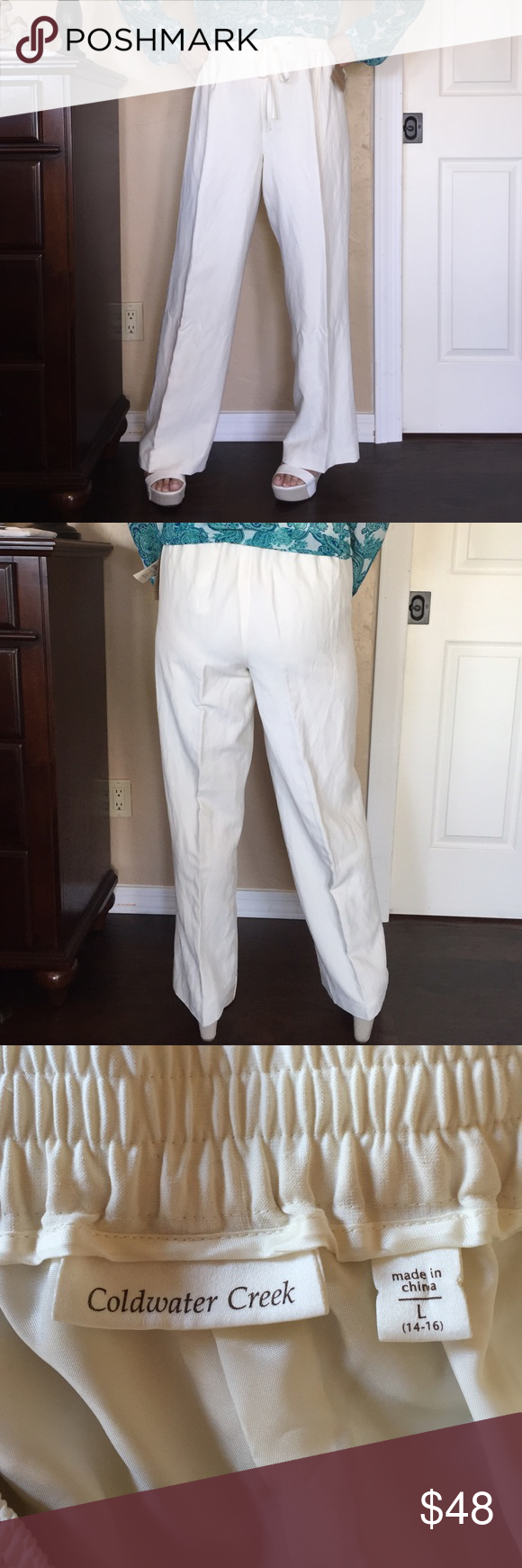 """NWT ColdWater Creek Pull-On Silk & Linen Pants Gorgeous pants! Never worn and new with tags. Size large (14-16) from Coldwater Creek. Elastic waistband and drawstring. Lining is 100% Acetate and the shell is 76% silk and 24% Linen. Originally $90. Dry clean only. Tag reads """"Sits just above the waist relaxed slightly through the hips and thighs with invisible comfort waistband and stretch fabric. Silk and linen naturally beautiful, light and easy. The soft drape of silk pairs with the texture…"""