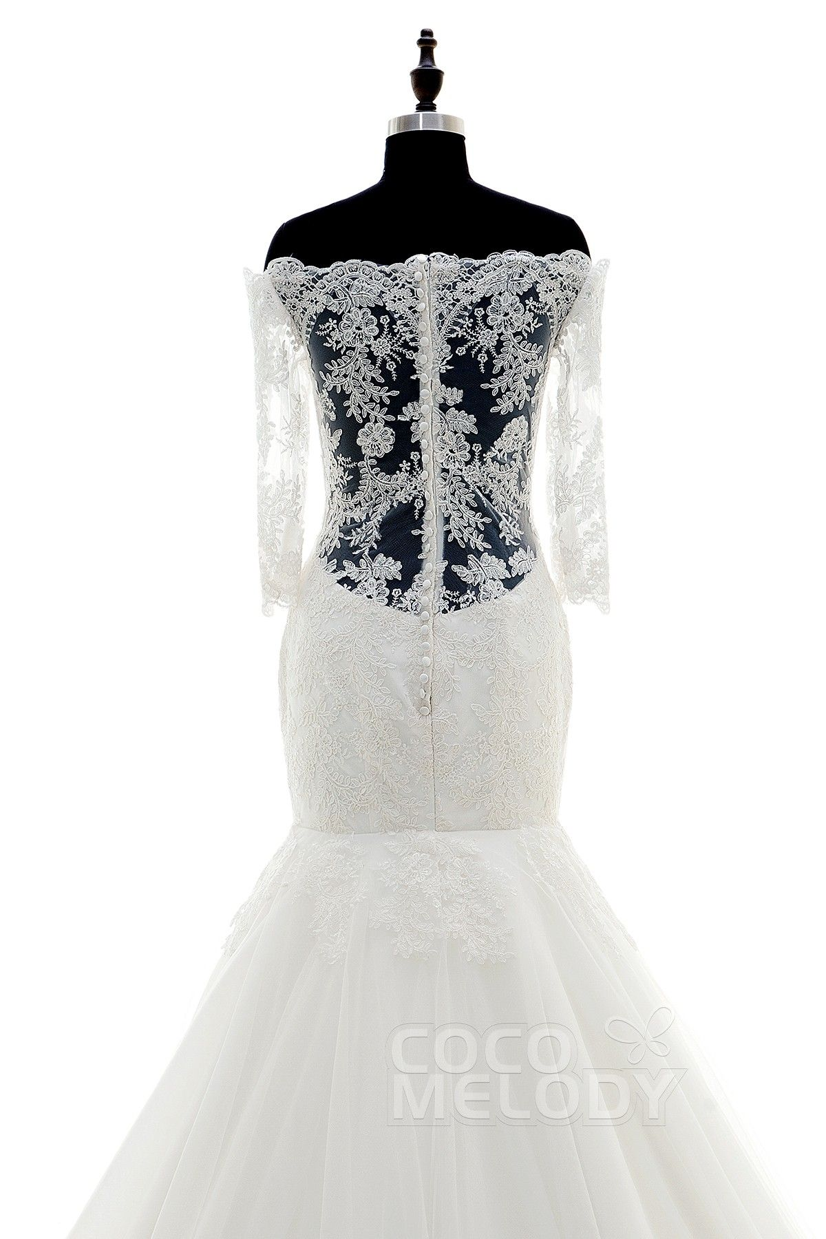 3/4 length lace wedding dress  TrumpetMermaid Off the Shoulder Dropped Court Train Tulle and Lace