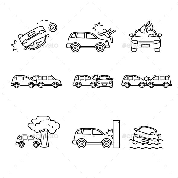 Car Crash And Accidents Thin Line Art Icons Set Car Crash Art Icon Icon Set