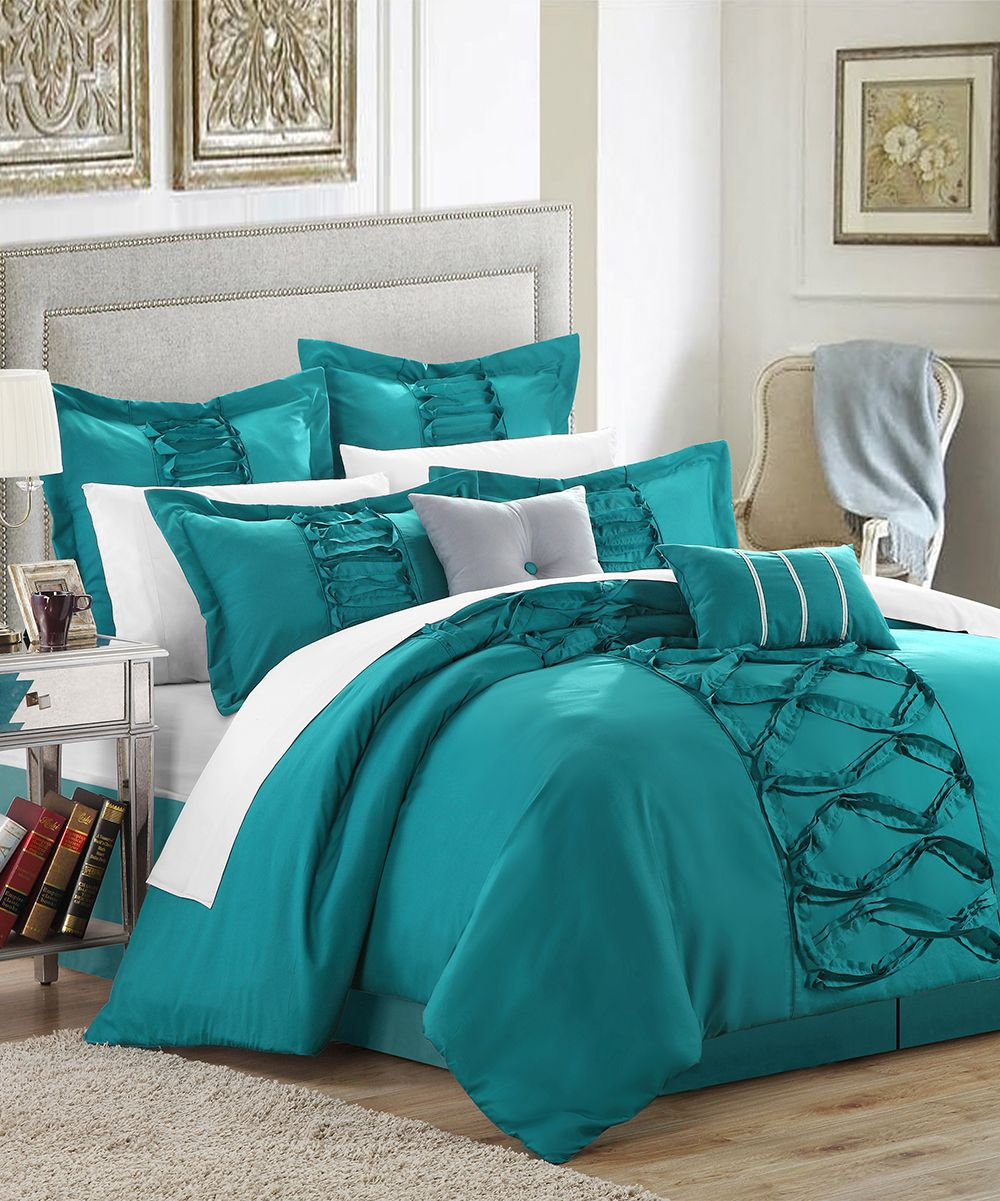 Ruth Ruffled Turquoise King 12 Piece Comforter Bed In A Bag Set Chic Home