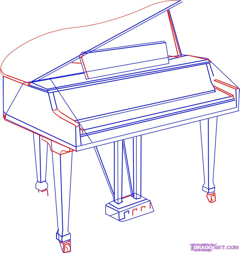 How to draw a grand piano for kids step by step with