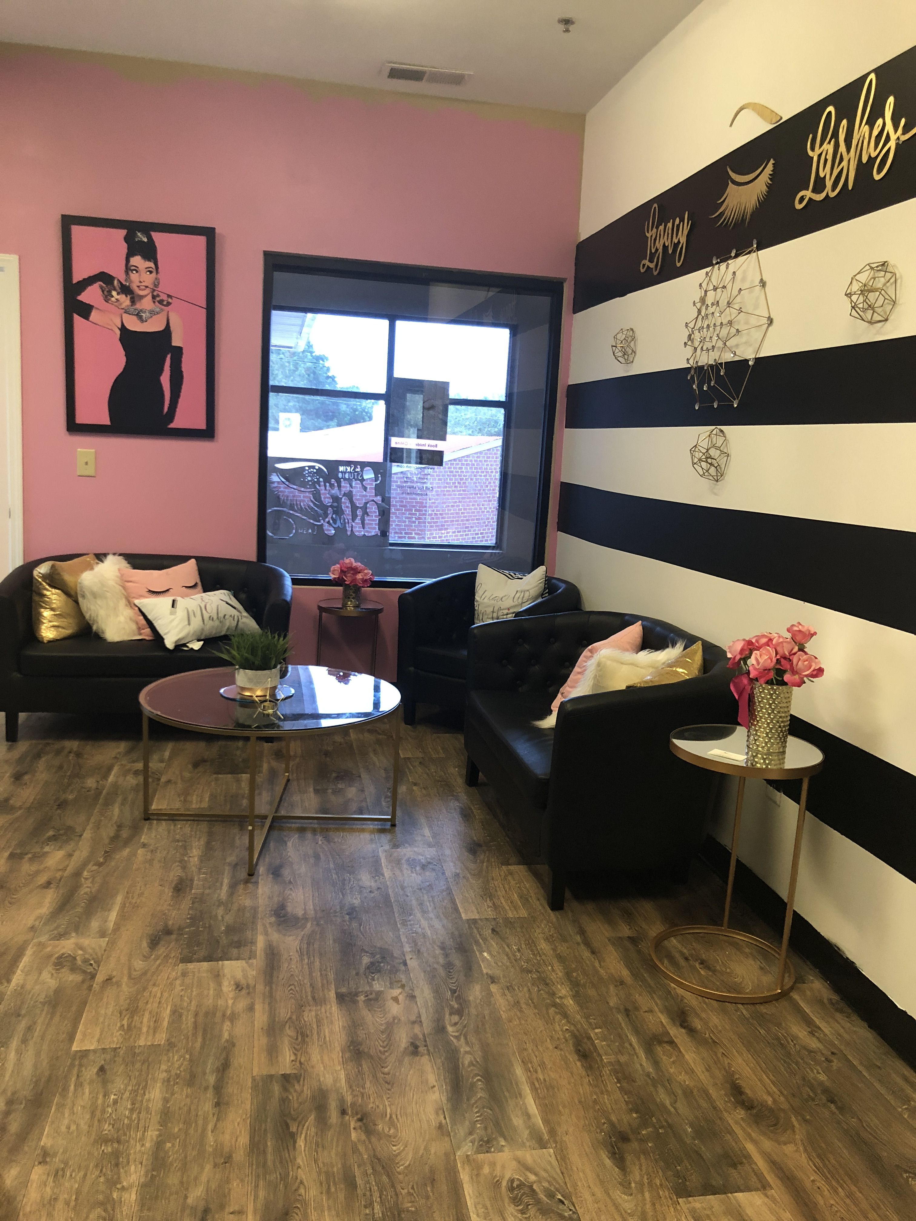 Pink White And Black Striped Lash Studio! Love The Gold