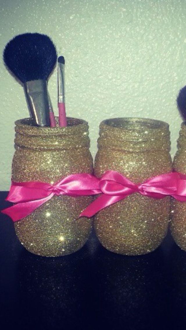 Glitter and modge podge mason jars. So easy and cute