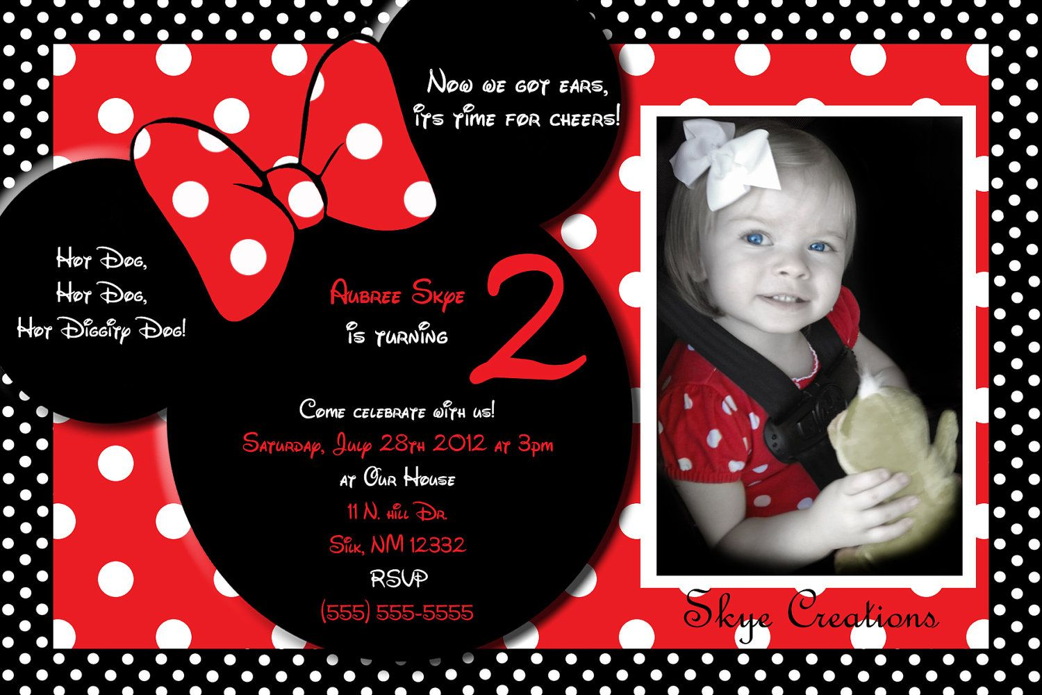 minnie mouse invitation wording - Google Search | O, It\'s Party Time ...