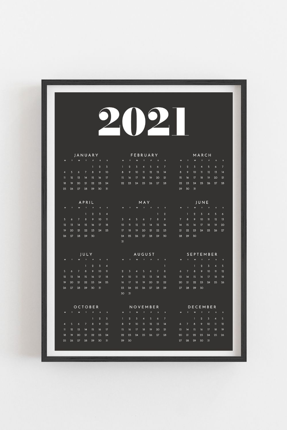 Printable calendar 2021 | Yearly wall calendar | Year at a ...