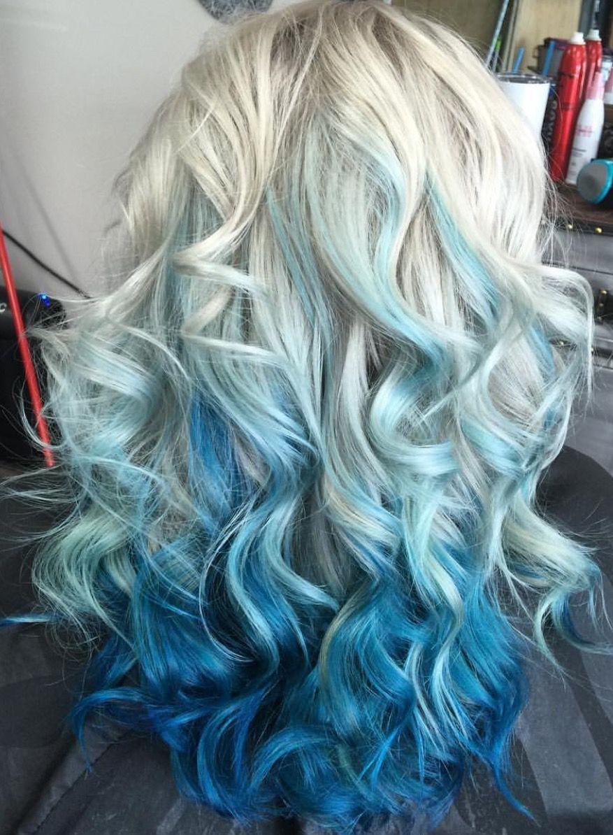 Beautiful Blue And Silver Mermaid Hair Mermaid Hair Blonde And Blue Hair Blue Hair Highlights