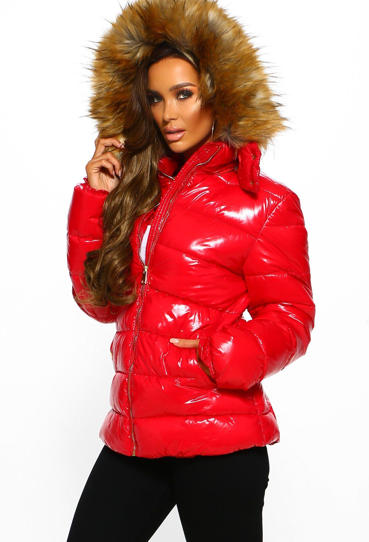 Are You Furreal Red Shiny Puffer Jacket With Faux Fur Hood Red Puffer Jacket Faux Fur Hood Jackets [ 1762 x 1200 Pixel ]