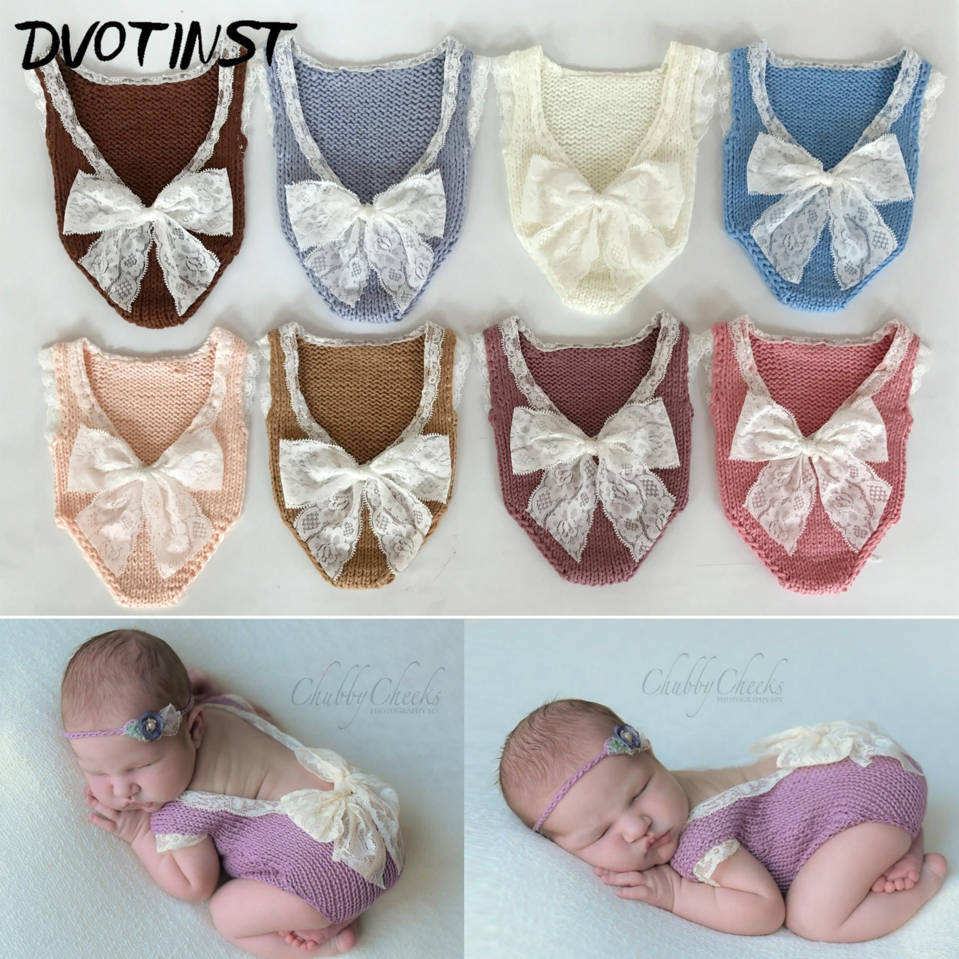 Newborn Infant Baby Girls Boy Photography Props Lace Bow Romper Bodysuit Clothes