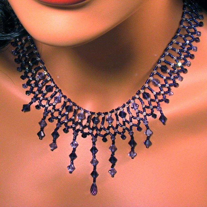 Delica Bead Earring Free Patterns | Necklace Beaded Purple ...