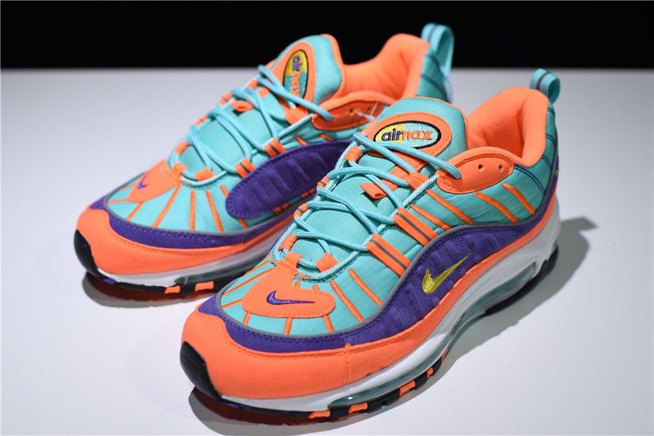 6a7aebdca296ae Men s and Women s Nike Air Max 98 QS Cone Tour Yellow-Hyper Grape 924462