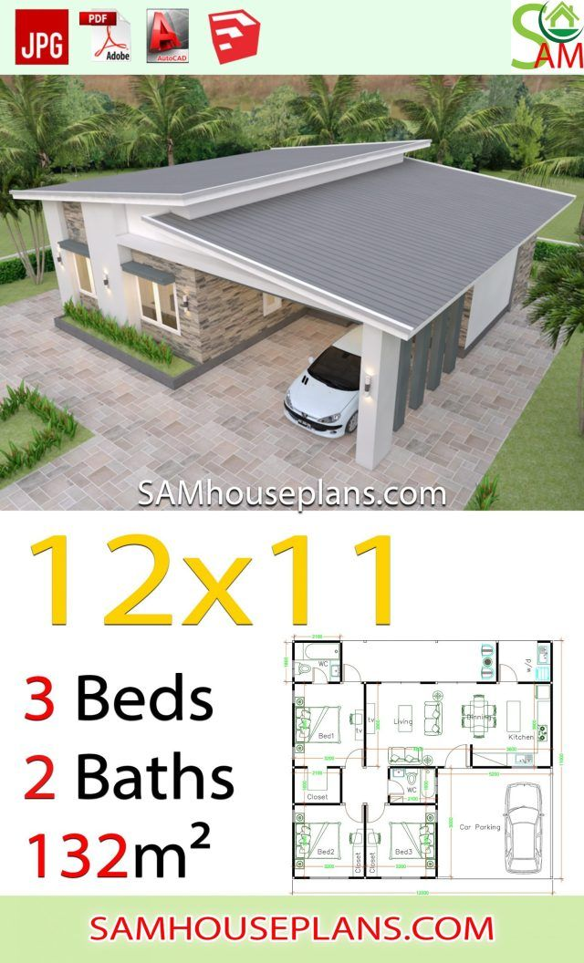 House Plans 12x11 With 3 Bedrooms Shed Roof Sam House Plans House Construction Plan Small House Design Plans Budget House Plans