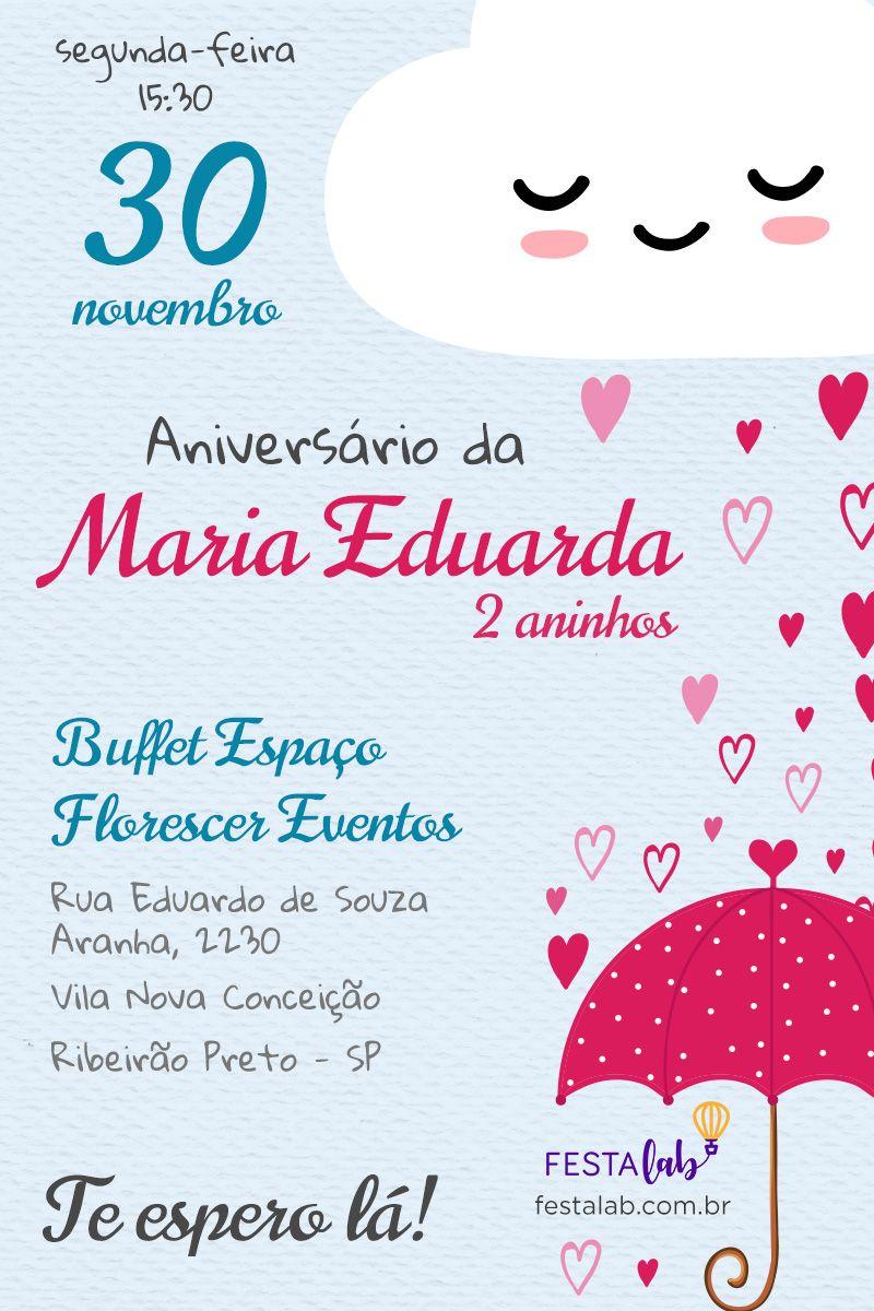 Convite De Aniversario Infantil Chuva De Amor Personalize Este