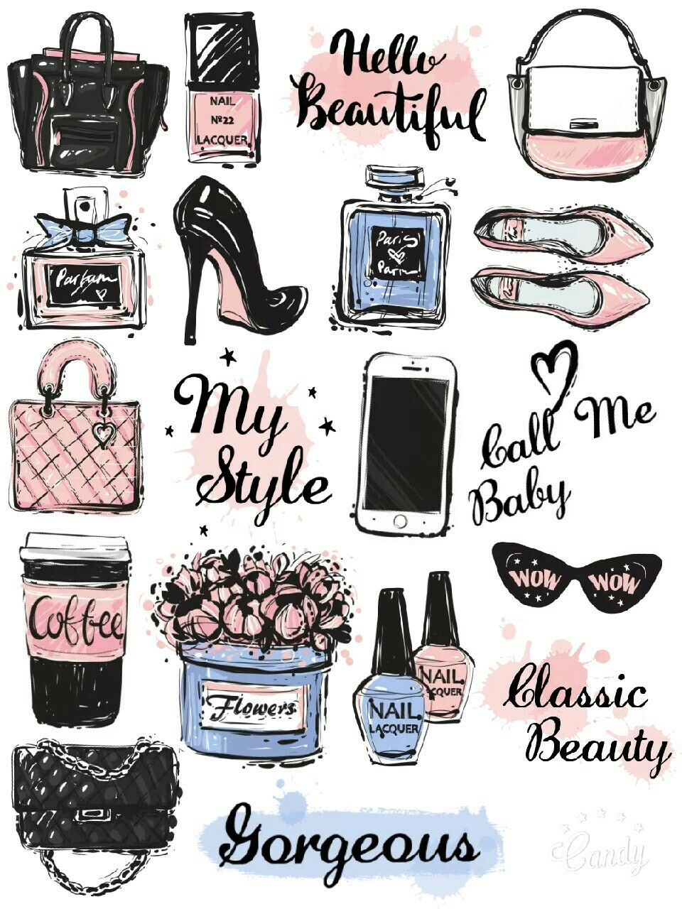 Beauty Girl Stuff Stickers Printable