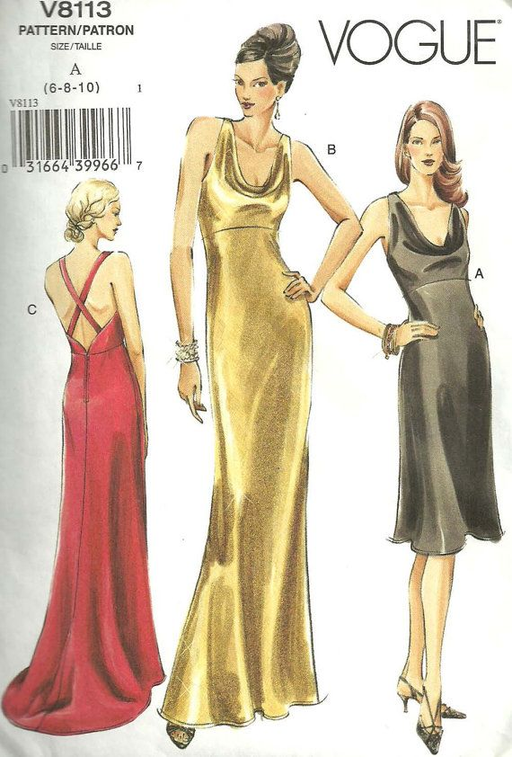 Vogue 8113 Sewing Pattern Gown Evening Dress Size 6 8 10