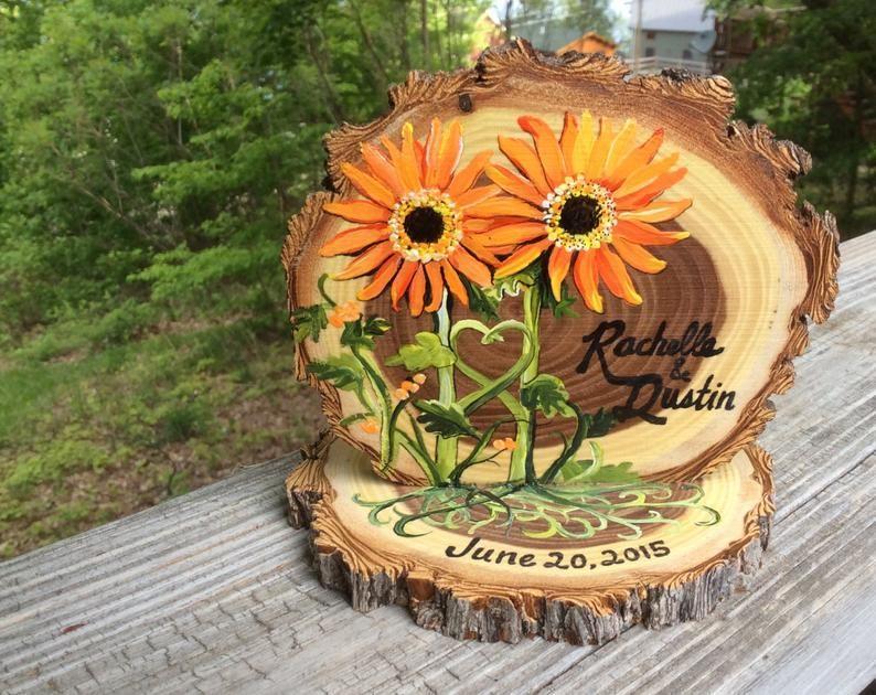 Custom floral design wedding cake topper to coordinate