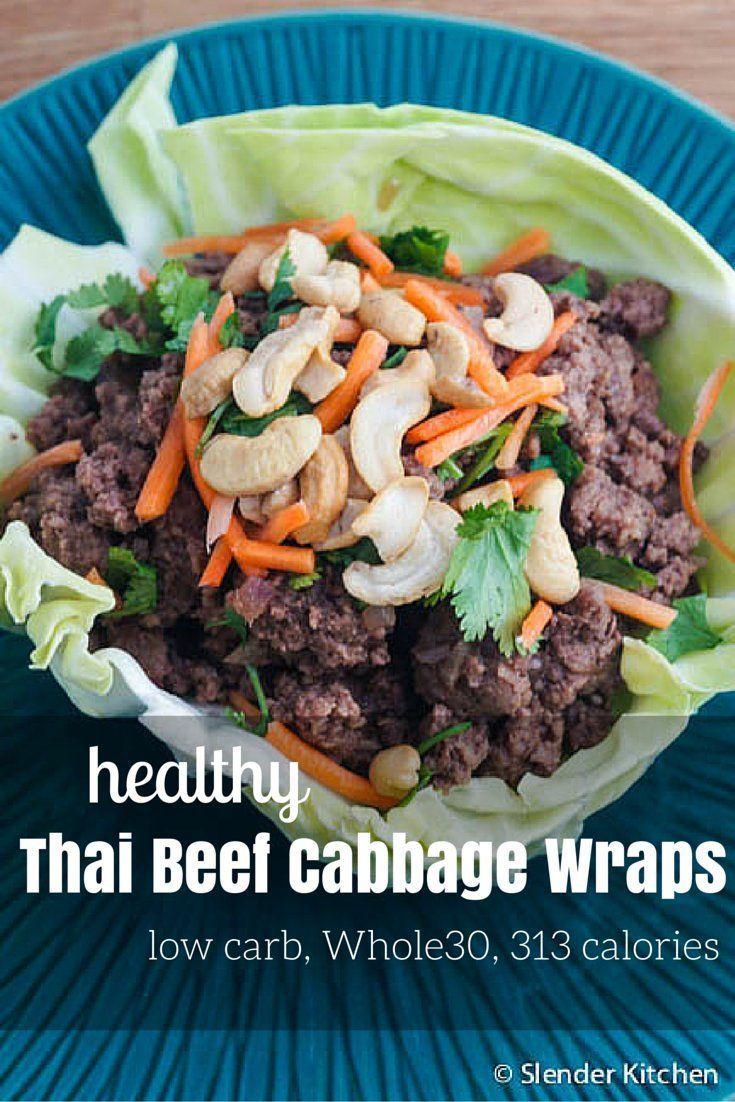 Thai Beef Cabbage Wraps - Slender Kitchen