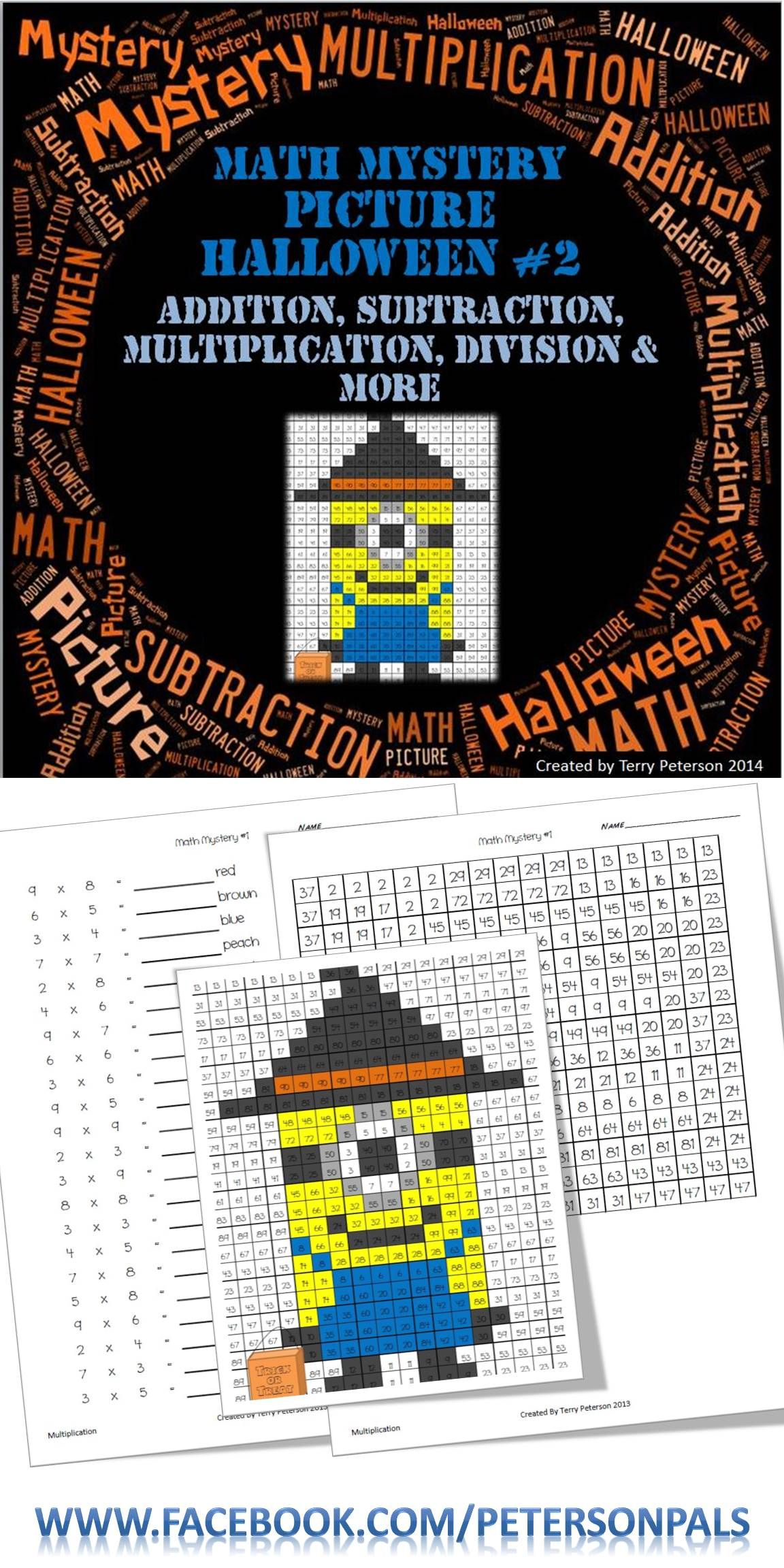Math Mystery Picture Halloween Addition Subtraction