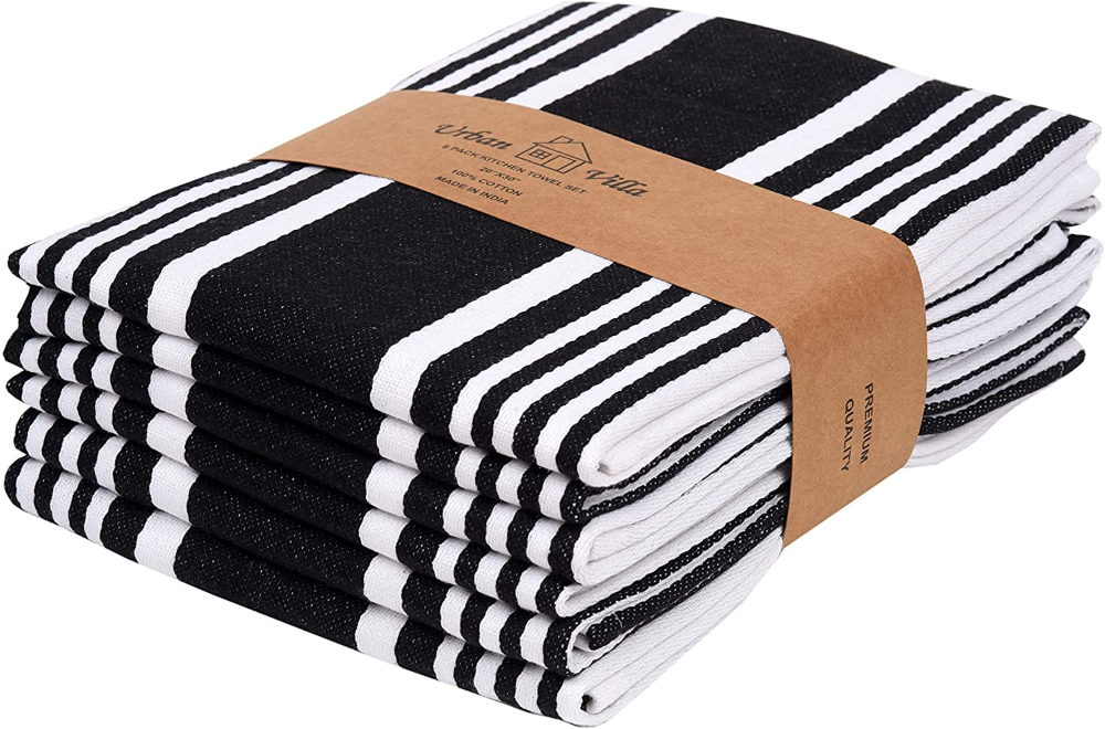 Amazon Com Urban Villa Kitchen Towels Trendy Stripes 100 Cotton Dish Towels Mitered Corners Size 20x30 Inch Towel Set Tea Towel Set White Kitchen Towels