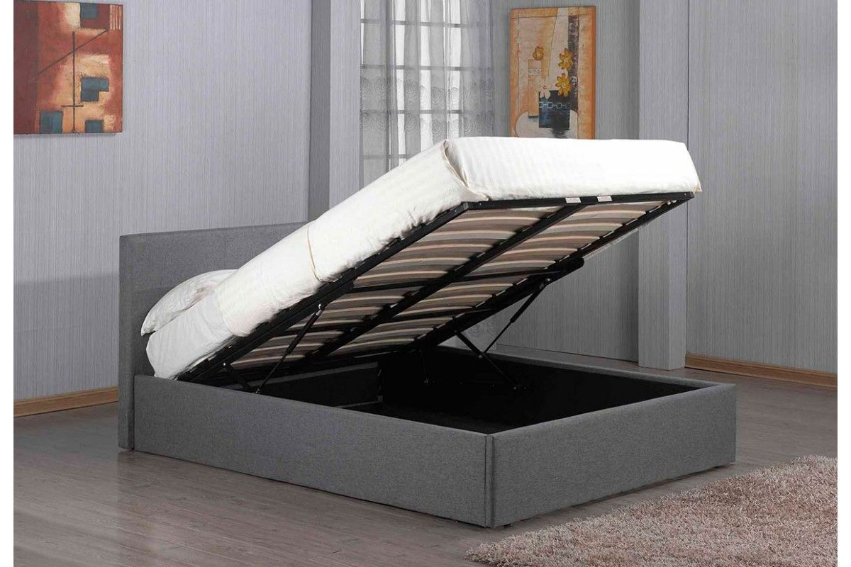 Richmond grey fabric lift up ottoman storage bed t bed - Lift up storage bed ...