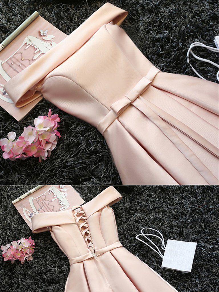 Custom made light pink off shoulder prom dresses short graduation