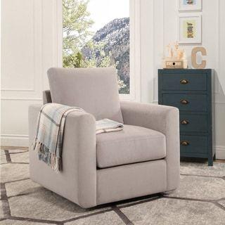 abbyson anthony fabric swivel chair n a foam velvet wood sand