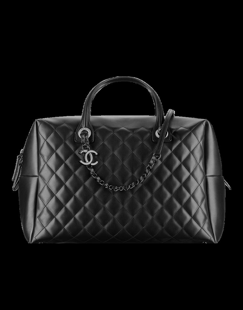 e4f8cef7f Bowling bag grande, couro de novilho-preto - CHANEL Bolsa Chanel, Couro,