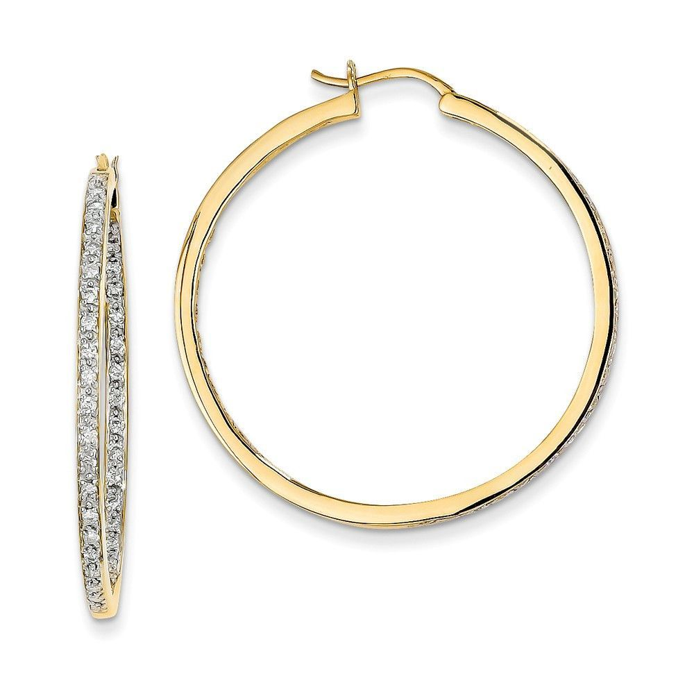 14k AA Quality Completed Diamond In/Out Hoop Earrings Attributes ...