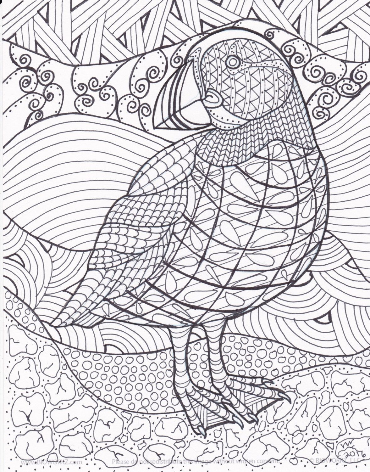 Puffin Zentangle Coloring Page by InspirationbyVicki on Etsy ...