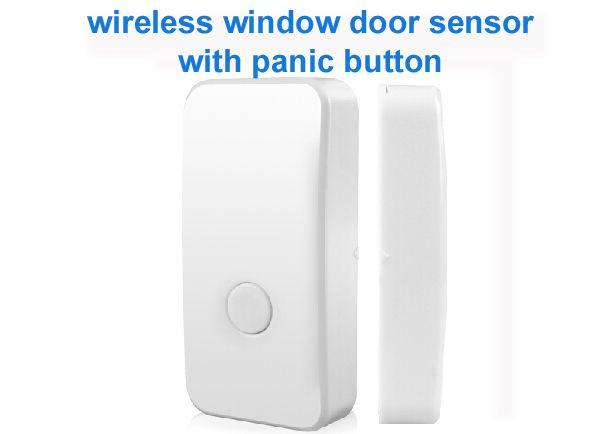 Free Shipping Wireless Window Door Magnetic Sensor Open Detector 1527 Chips With Panic Button Sensor Wireless Panic Button