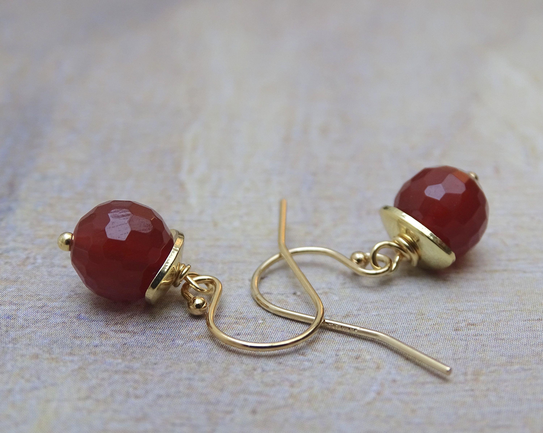 Carnelian Pink Hanging Earrings 14k Yellow Gold Leverbacks