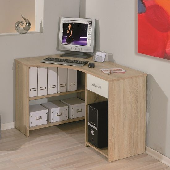 dalton corner computer desk sand oak. Fine Dalton Banbridge Corner Computer Desk In Sonoma Oak With 1 Drawer In White Front  And Shelves Provide Sufficient Storage Space For Your Routine Use On Working Side  Inside Dalton Sand C