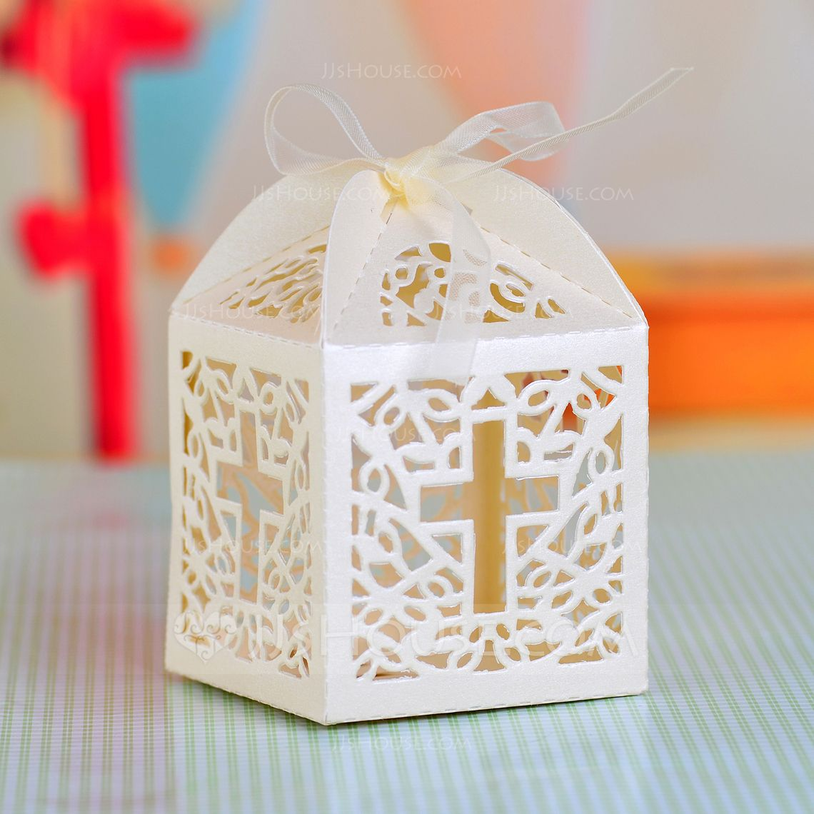 Cross Laser Cut Cubic Favor Boxes With Ribbons (Set of 12 ...