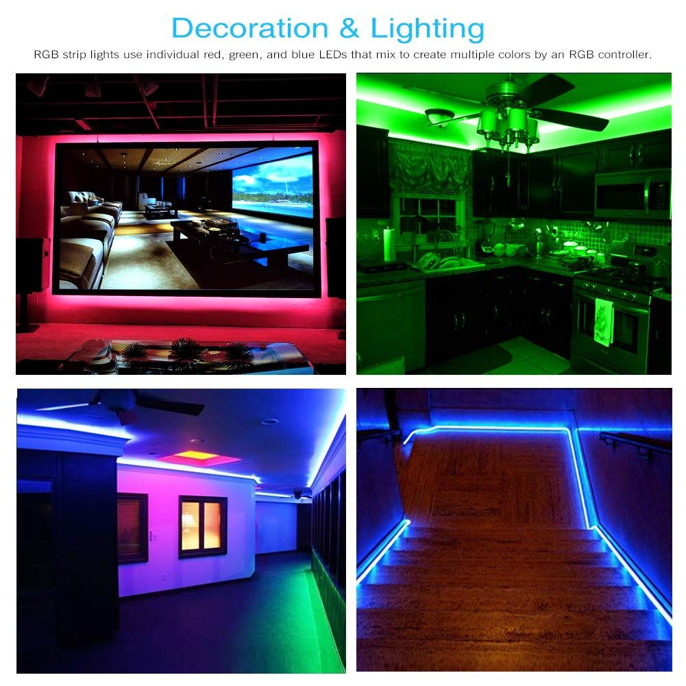 Wifi Smart Waterproof Led Strip Light Smart Phone Controlled Works With Android And Ios Ifttt Google Assistant And Alexa 16 4ft Rgb Color Changing For Bedroom Led Strip Lighting Strip Lighting Tape Lights