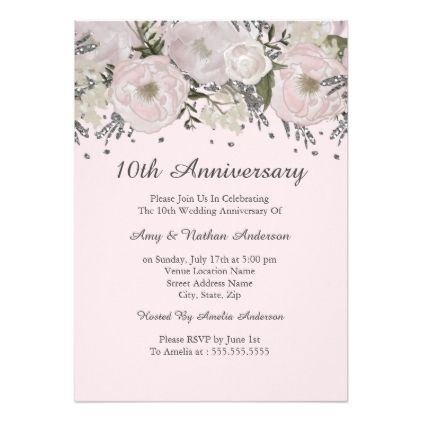 Pretty Blush Pink Silver Floral 10th Anniversary Card Blush pink - anniversary card template