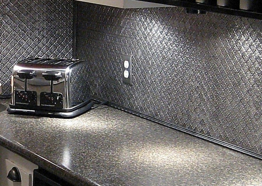 Stainless steel faux metal tin backsplash roll by CTBU - Stainless Steel Faux Metal Tin Backsplash Roll By CTBU Design