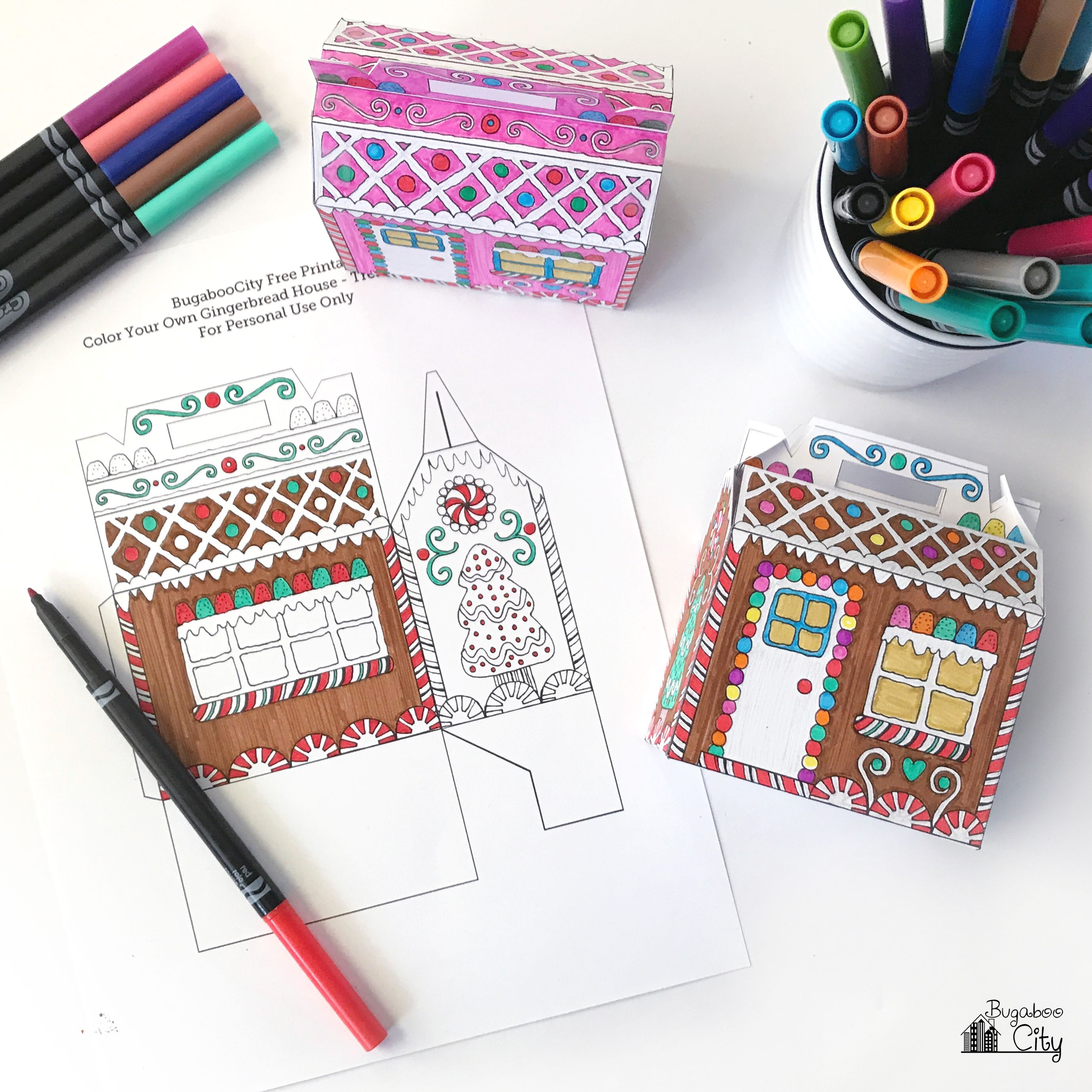 Color-Your-Own - Gingerbread House Box