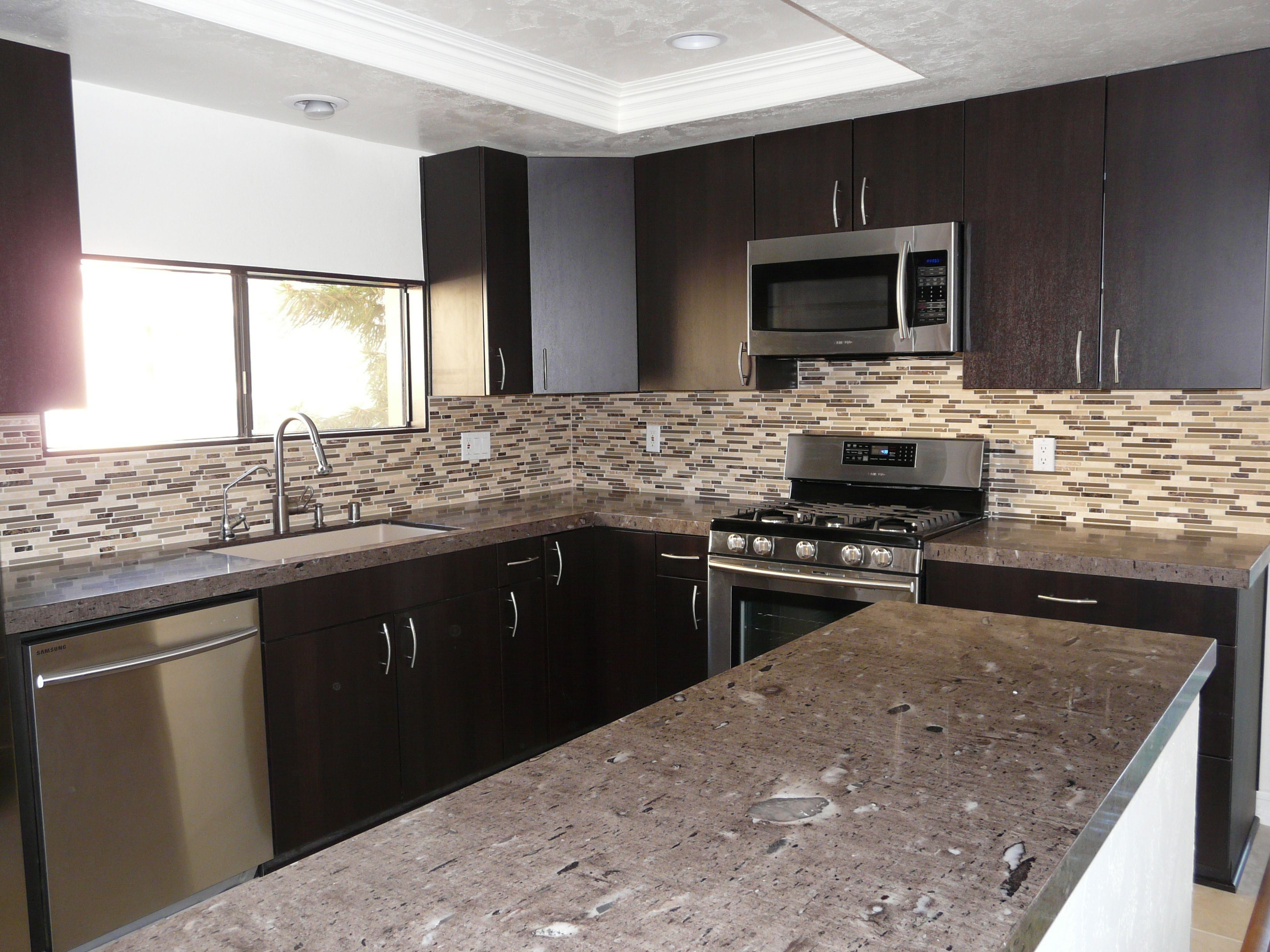 I Absolutely Love How The Countertops Turned Out   Cygnus Granite With An  Eased/square Edge. Backsplash Is Natural Stone And Glass Tiles, Cabinets  Are ...