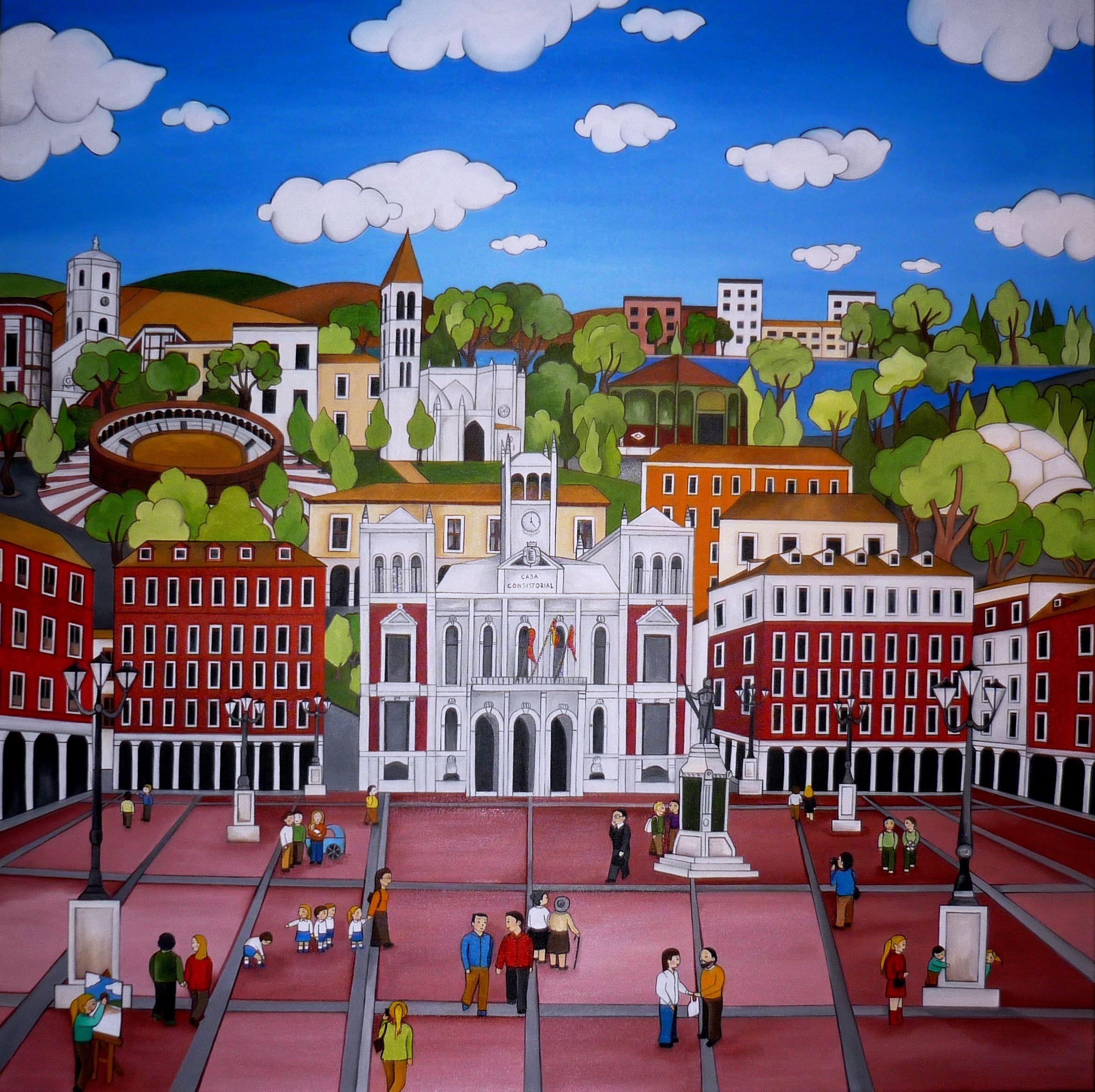 Ciudad De Valladolid 100×100 Cms Leo Sobre Lienzo Mis Cuadros  # Muebles Jacaranda Valladolid