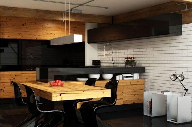 küche holz esstisch schwarze glas küchenrückwand weiße ziegelwand - Die Elegante Ausstrahlung Vom Modernen Esszimmer Design