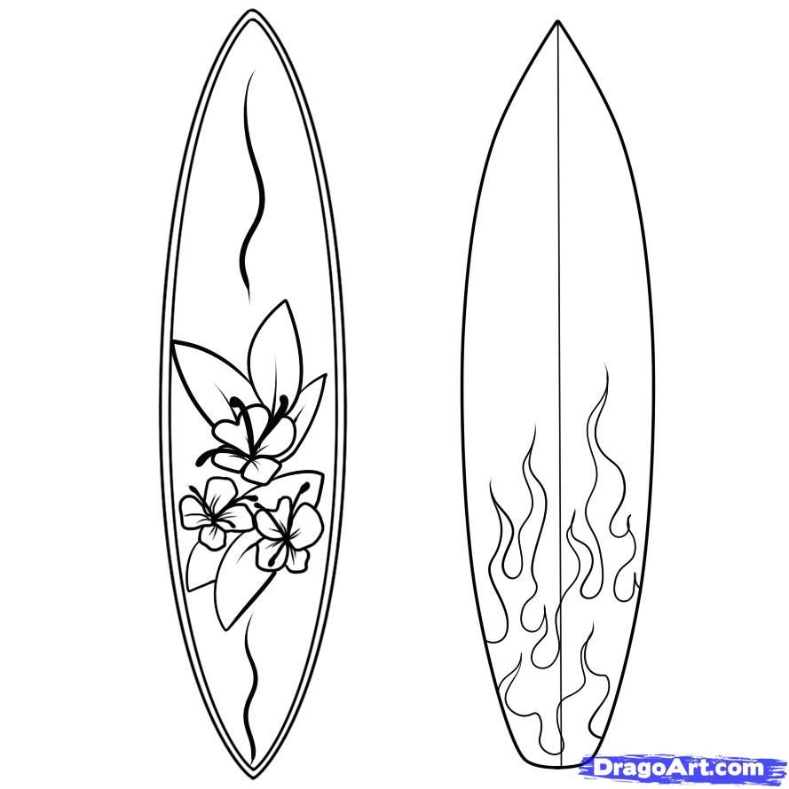 How to Draw a Surfboard, Draw Surfboards, Step by Step