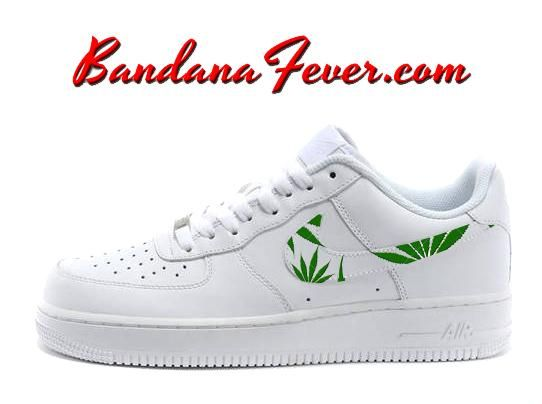Custom Weed Pot Leaf Nike Air Force 1 Shoes White Low, #weed, #